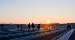 Zonsondergang op Tempelhofer Feld