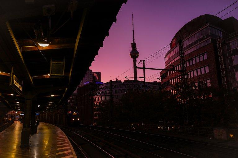 Opgaande zon boven Berlijn